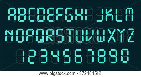 Digital Font. Alarm Clock Letters And Numbers Vector Alphabet. Calculator Digital Text.