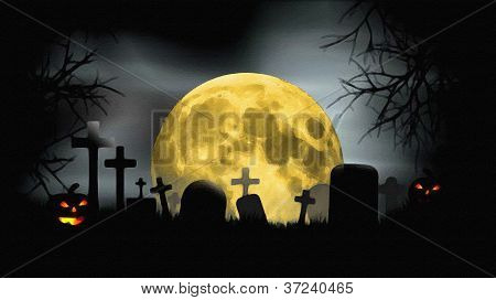 Full Moon At Creepy Cemetery With Evil Looking Pumpkins At Halloween Night