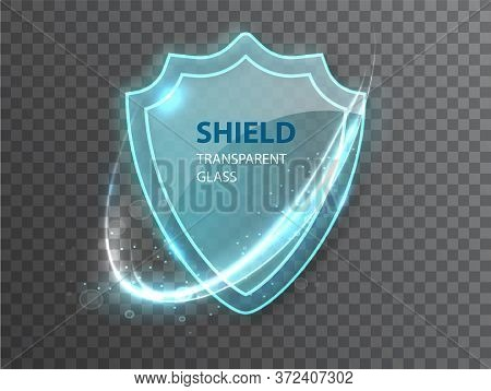 Glass Transparent Shield. Protective Glass Shield With Reflection And Glow On Transparent Background
