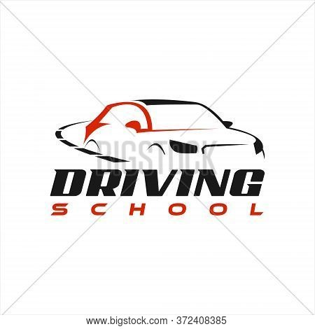 Driving School Logo Modern Car Vector In Red And Black Color Design Template.