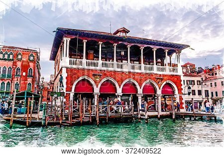 Venice Cityscape - Rialto Market. Sketch Illustration.