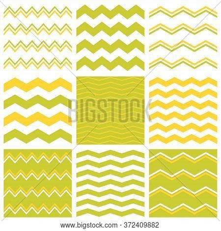Tile Vector Pattern With Yellow, White And Green Zig Zag Print Background