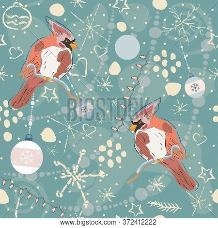Sweet Pattern With Cardinals. Hand Drawn Scandinavian Style.