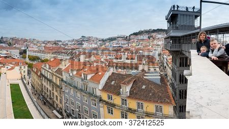 March 1, 2017. Lisbon, Portugal: Family At Santa Justa Observation Deck. Wide Angle Panoramic View O