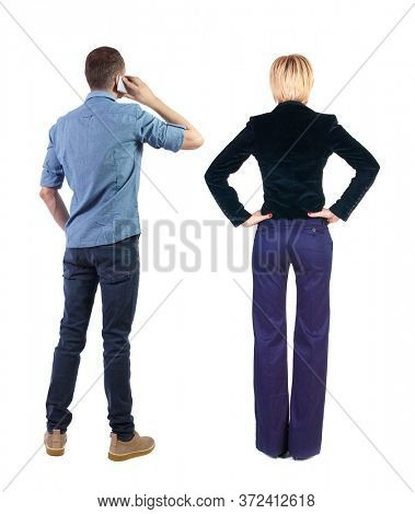 Back view of  business woman and business man in suit with mobile phone. Business team.  Rear view people collection. backside view of person. Isolated over white background.