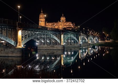 Salamanca Cathedral Is A Late Gothic And Baroque Catedral In Salamanca City. Night Wide View Of The