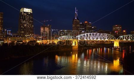 Beautiful Nashville By Night - Nashville, Usa - June 17, 2019