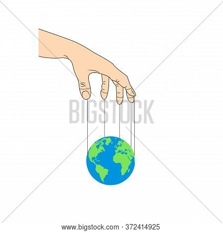 Manipulation Hand And Earth. World Conspiracy Illustration. Planet Control. Conspiracy Theory.