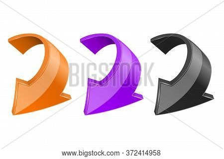 Down Colored Arrows. Shiny 3d Bent Web Icons. Vector Illustration Isolated On White Background