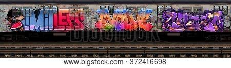 Graffiti Subway Train. Metro Subway Car. The Underground Tube. Subway Car Illustration. Train Car.