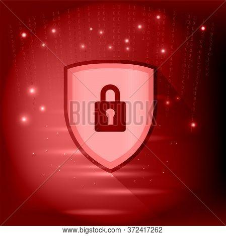 Illustration Of Dark Web Sign On Red Background. Darknet Chart. Technological Space