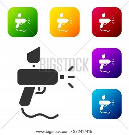 Black Paint Spray Gun Icon Isolated On White Background. Set Icons In Color Square Buttons. Vector I
