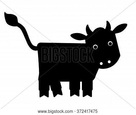 Merry Cow - Black Silhouette Vector Illustration For Logo Or Pictogram. Little Bull-calf - Symbol 20
