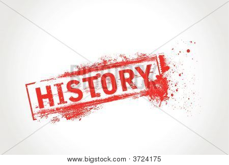 History grunge text with halftone with white background poster