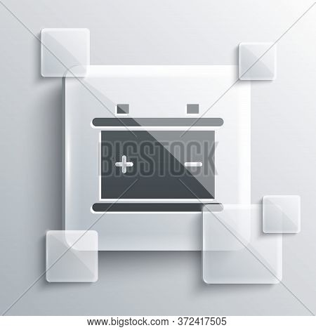 Grey Car Battery Icon Isolated On Grey Background. Accumulator Battery Energy Power And Electricity