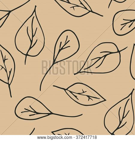 Cute Cartoon Leaf Pattern With Hand Drawn Leaves. Sweet Vector Black And White Leaf Pattern. Seamles