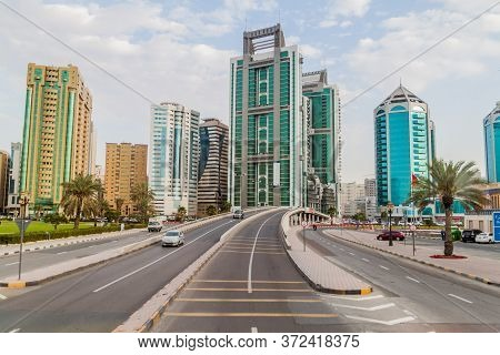 Sharjah, Uae - March 11, 2017: King Faisal Street In Sharjah.