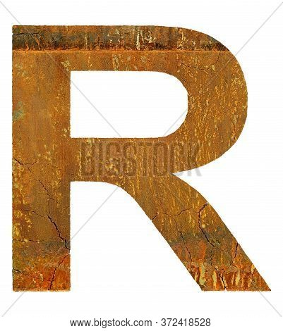 Cracked Rusty Coarse Letter Isolated On White Background.