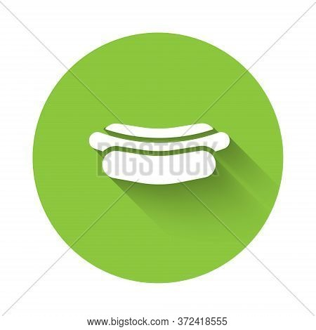 White Hotdog Sandwich Icon Isolated With Long Shadow. Sausage Icon. Fast Food Sign. Green Circle But
