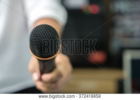Reporter Or Journalist Media Holding Microphone Interview News Or Press Conference Conducting Busine