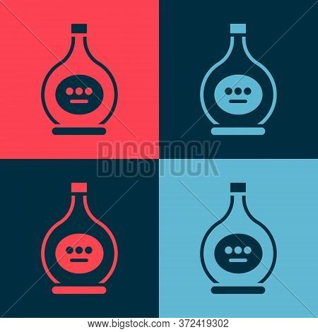Pop Art Bottle Of Cognac Or Brandy Icon Isolated On Color Background. Vector Illustration