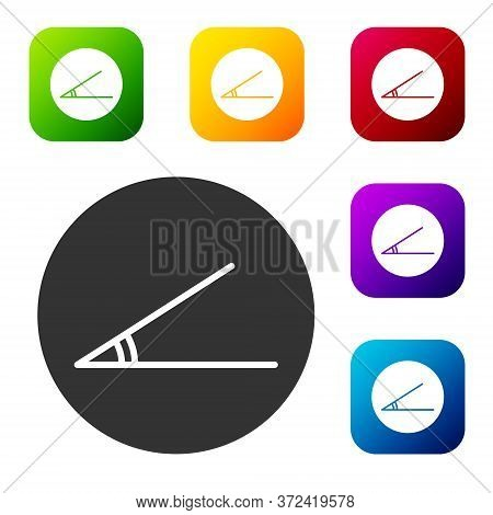 Black Acute Angle Of 45 Degrees Icon Isolated On White Background. Set Icons In Color Square Buttons