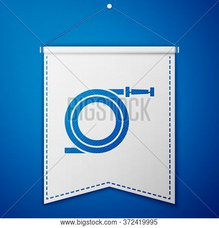 Blue Garden Hose Or Fire Hose Icon Isolated On Blue Background. Spray Gun Icon. Watering Equipment.