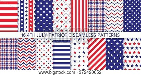 4th July Seamless Pattern. Patriotic Prints. Vector. Happy Independence Day Textures With Stars, Str