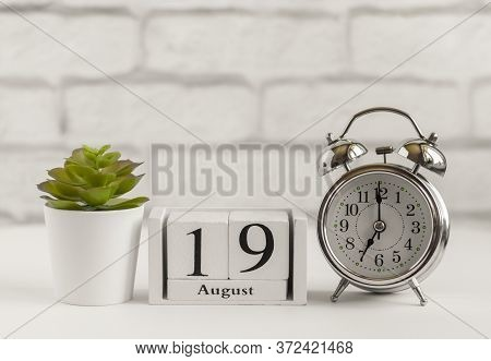 August 19 According To The Wooden Calendar. Summer Day, Empty Space For Text.calendar For August On