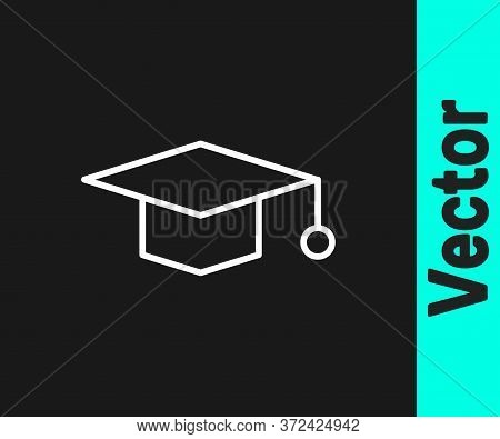White Line Graduation Cap Icon Isolated On Black Background. Graduation Hat With Tassel Icon. Vector