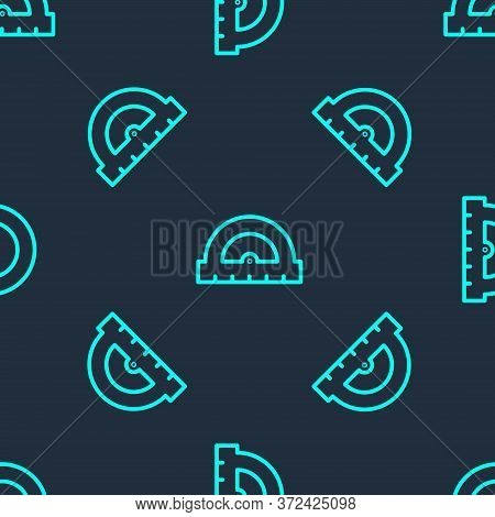 Green Line Protractor Grid For Measuring Degrees Icon Isolated Seamless Pattern On Blue Background.