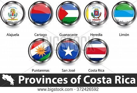 Flags Of Costa Rica In Glossy Badges. Vector Image
