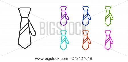 Black Line Tie Icon Isolated On White Background. Necktie And Neckcloth Symbol. Set Icons Colorful.