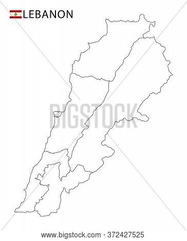 Lebanon Map, Black And White Detailed Outline Regions Of The Country.