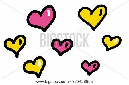 Pink And Yellow Hearts Set For Wedding And Valentine Design. Doodle Vector Illustrations Isolated On