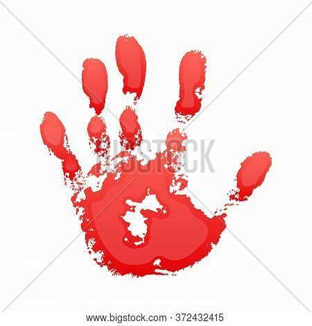 Hand Paint Print 3d, Isolated White Background. Red Human Palm And Fingers. Abstract Art Design, Sym