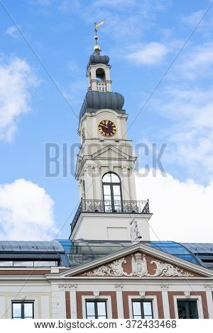 Riga, Latvia - September, 2019: Riga City Council (rigas Dome) Building Of The Government Of The Cit