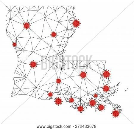 Polygonal Mesh Louisiana State Map With Coronavirus Centers. Abstract Mesh Connected Lines And Covid