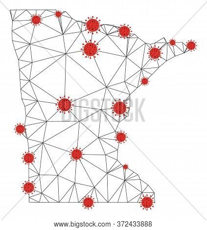 Polygonal Mesh Minnesota State Map With Coronavirus Centers. Abstract Network Connected Lines And Co