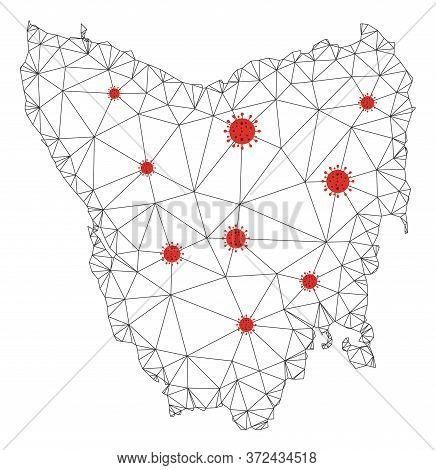 Polygonal Mesh Tasmania Island Map With Coronavirus Centers. Abstract Mesh Connected Lines And Flu V
