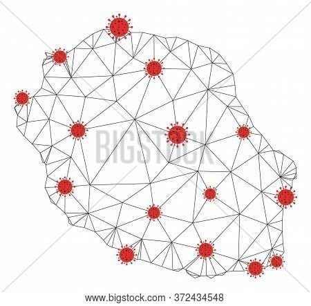 Polygonal Mesh Reunion Island Map With Coronavirus Centers. Abstract Mesh Connected Lines And Flu Vi