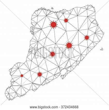 Polygonal Mesh Staten Island Map With Coronavirus Centers. Abstract Network Connected Lines And Flu