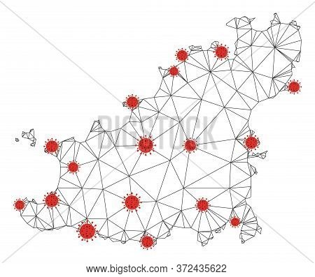 Polygonal Mesh Guernsey Island Map With Coronavirus Centers. Abstract Network Connected Lines And Co