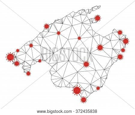 Polygonal Mesh Spain Mallorca Island Map With Coronavirus Centers. Abstract Network Connected Lines