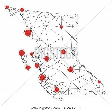 Polygonal Mesh British Columbia Province Map With Coronavirus Centers. Abstract Mesh Connected Lines
