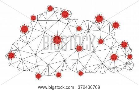 Polygonal Mesh Bhutan Map With Coronavirus Centers. Abstract Network Connected Lines And Covid Virus