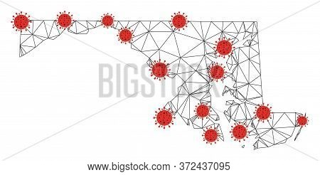 Polygonal Mesh Maryland State Map With Coronavirus Centers. Abstract Mesh Connected Lines And Flu Vi