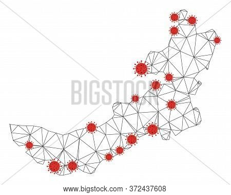 Polygonal Mesh Inner Mongolia Map With Coronavirus Centers. Abstract Network Connected Lines And Flu