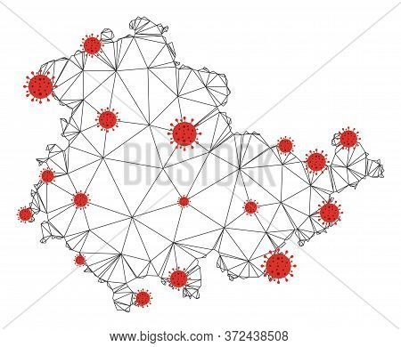 Polygonal Mesh Thuringia Land Map With Coronavirus Centers. Abstract Mesh Connected Lines And Covid-