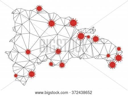 Polygonal Mesh Dominican Republic Map With Coronavirus Centers. Abstract Network Connected Lines And